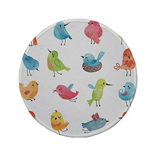 Non-Slip Rubber Round Mouse Pad,Animal,Colorful Cute Birds Watercolor Effect Humor Funny Mascots Paint Brush Art Kids Design,Multi,7.87