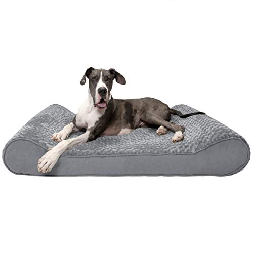 Furhaven Pet Dog Bed Orthopedic Ergonomic Luxe Lounger Cradle Mattress Contour Pet Bed for Dogs Cats – Available in Multiple Colors Styles