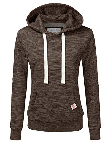 (Doublju Basic Lightweight Pullover Hoodie Sweatshirt for Women MARLEDESPRESSO 2X Plus Size)