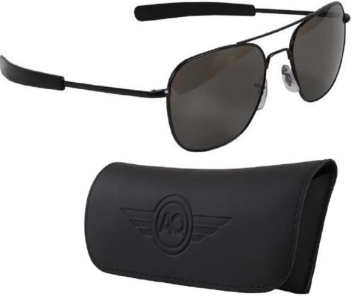 55 Mm - Black American Optics Pilot Sunglasses Air Force Style Grey Lenses With Case