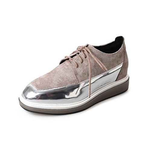 T-july Scarpe Da Donna Moderne In Oxford - Comode Scarpe Casual In Pelle Scamosciata Bicolore Effetto Casual