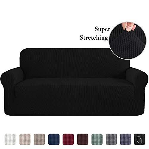 High Stretch One Piece Jacquard Lycra Sofa Cover/Slipcover Form Fit Slip Resistant Stylish Furniture Protector Machine Washable, XL Sofa, Black