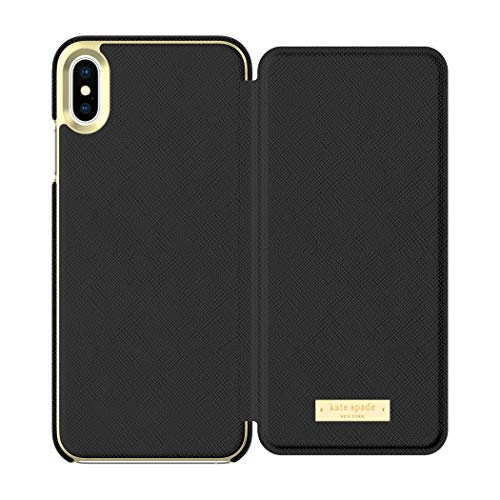 Kate Spade New York Phone Case | for Apple iPhone Xs Max | Protective Phone Cases with Folio Design and Drop Protection - Saffiano Black/Gold Logo Plate