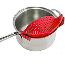Clip On Pan Strainer Silicone Pots Colander Food Drainer Heat Resistant For Pasta,Spaghetti,Vegetables and Fruit,Red