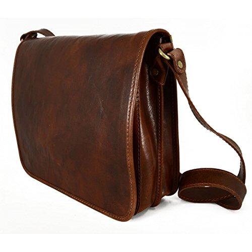 Sac Messenger En Cuir Véritable 2 Compartiments Taille Moyenne Couleur Brun Foncé - Maroquinerie Fait En Italie - Sac Homme