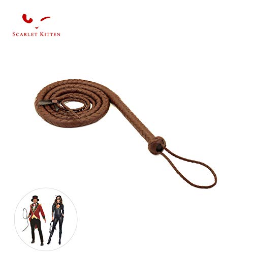 (SCARLET KITTEN Cowboy Whip Cat Woman Long Whips Costumes Supplies for Halloween Costume Accessories 5.3ft/1.6m, Brown)