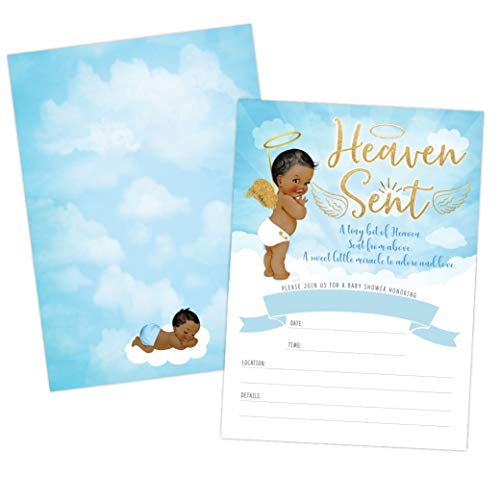 Heaven Sent Boy Baby Shower Invitation, African American Cute Clouds and Celestial Angel Baby Shower Invite, Twinkle Twinkle Little SAR, 20 Fill in Invitations and Envelopes Angel Baby Shower Invitations