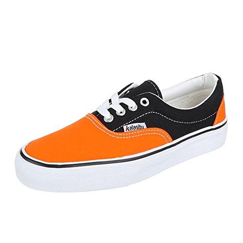 Damen Schuhe, YJ876001-1, Freizeitschuhe Schnürer Sneakers Orange Schwarz