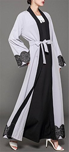 Muslim Dress Trim Gray Islamic Lace Long Long Domple Kaftan Sleeve Womens wpXAAq