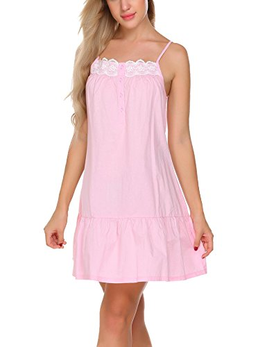 Langle Ruffled Sleepwear Womens Vintage Nightgown Sleeveless Pajamas (Pink, (Cotton Ruffled Nightgown)