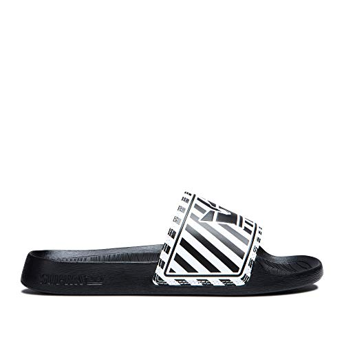 - Supra Footwear - Lockup Slip-On Sandal, Black/White Stripe, 13.5 M US Women/12 M US Men