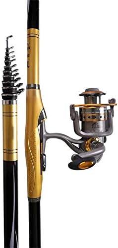 釣り竿YUSHRO 回転の巻き枠が付いている釣竿、ボートの海岩ルアー川のための望遠鏡の強いカーボンポーランド人 (色 : #5, サイズ : 540cm/213inches)