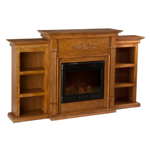 Tennyson Glazed Pine Electric Fireplace with Bookcases