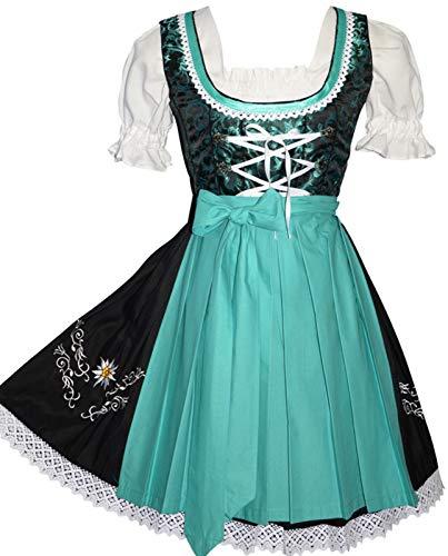 (Edelweiss Creek 3-Piece German Oktoberfest Dirndl Dress, Black and Aqua Green)