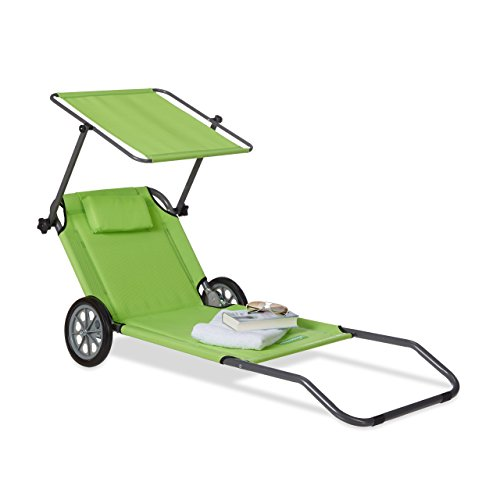 Relaxdays Beach Lounger with Wheels, Sun Tanning Chair, Foldable, with...