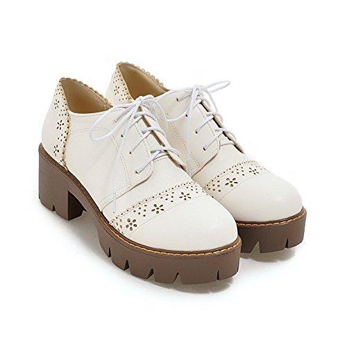 AllhqFashion Damen Rein Blend-Materialien Mittler Absatz Schnüren Rund Zehe Pumps Schuhe Weiß