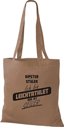 Shirtstown - Bolso de tela de algodón para mujer marrón claro