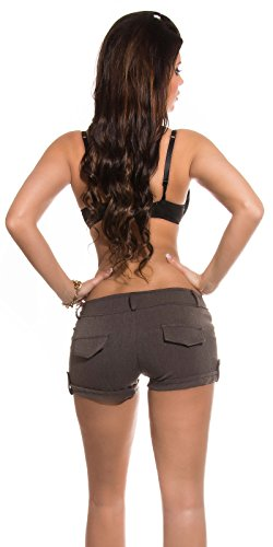 Koucla Damen Stoff -Shorts Hot Pants Mini kurze Hose (40, Cappuccino)