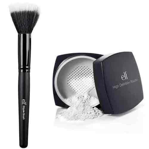 elf Studio High Definition Loose Face Powder and Stipple Bru