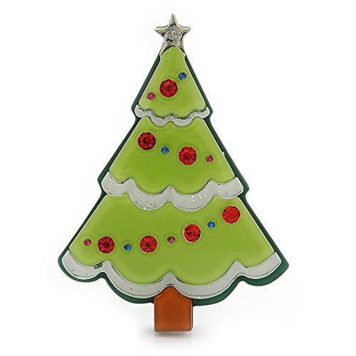 (Avalaya Light Green, Dark Green Red Swarovski Crystal 'Christmas Tree' Acrylic Brooch - 55mm Length)