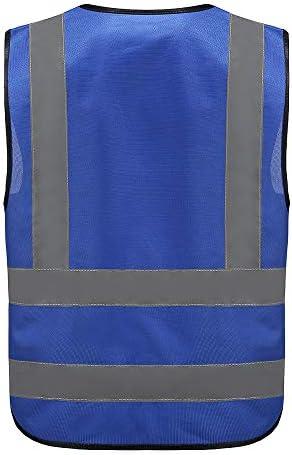 Unisex hochsichtbare Warnweste Hohe Sichtbarkeit Warnweste Reflektierende Weste Sicherheitswesten EN ISO 20471 M, Blau Mehrere Farben