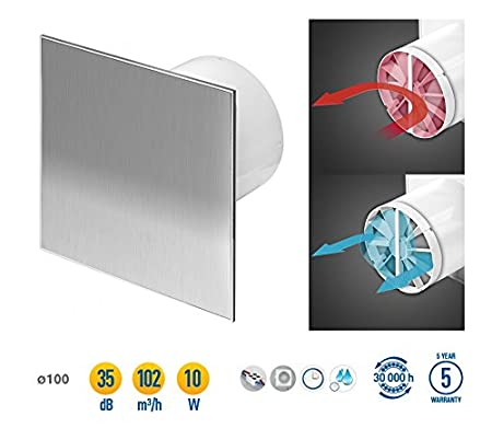 Peachy Stainless Steel Bathroom Extractor Fan 100Mm 4 With Timer Beutiful Home Inspiration Xortanetmahrainfo