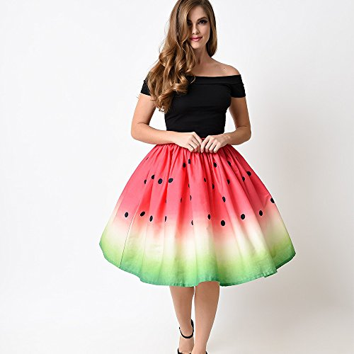 Ligne Pastque Une Fruits Belldan Jupe Jupe Femmes Patineuse Taille Mini Occasionnels 3D vase imprims Haute n6qIfq