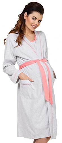 Zeta Ville Maternity - Womens Nursing Nightdress Robe Set Labour Hospital - 767c (Coral, US 12/14, 2XL)
