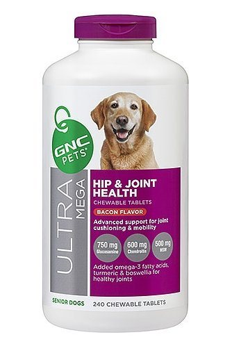 (GNC Ultra Mega Hip and Joint Premium Chewable Tablet Sizzling Bacon 240 Tablets)