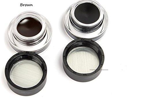 (Brand Eye Makeup 2 in 1 Brown + Black Gel Eyeliner Make Up Water-proof Smudge-proof Set Eye Liner Kit With)