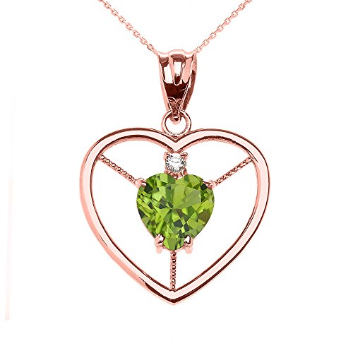 - 10k Rose Gold Heart August Birthstone Genuine Peridot and Diamond Open Heart Pendant Necklace, 18