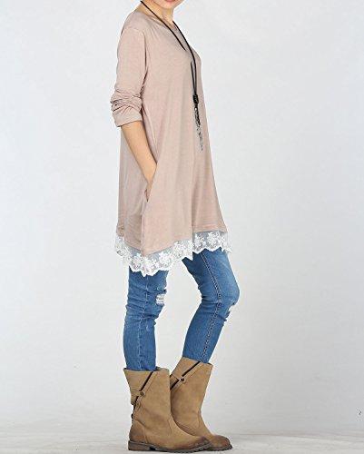 Lunga Maglia T Pizzo Primaverile Donna Maglietta Rosa Vestito Vogstyle shirt qIXT4wn