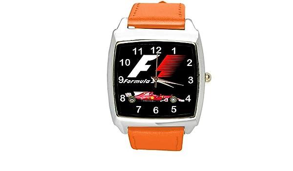 Reloj analógico de cuarzo con correa de piel auténtica naranja ...
