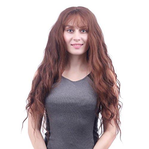 Rongron Women Fashion Lady Long Wavy Curly Full Wig Air Bang Water Wave Hair (brown)