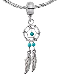 Silver Dreamcatcher Charm with Genuine Stone