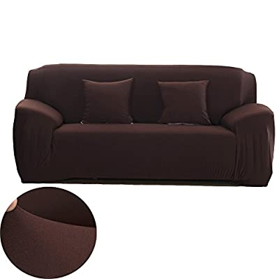 WOMACO Stretch Fabric Slipcover Pure Color 1 2 3 4 Seater Chair Loveseat Sofa Cover Anti-Mite Pet Dog Cat Protector
