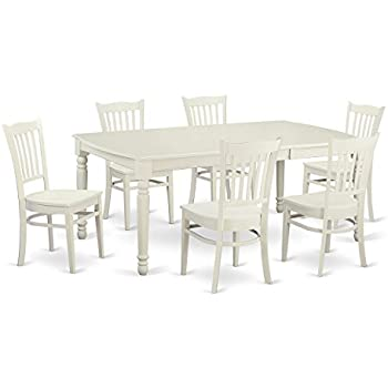 East West Furniture DOGR7 LWH W 7 Piece Table And 6 Dinette Chairs