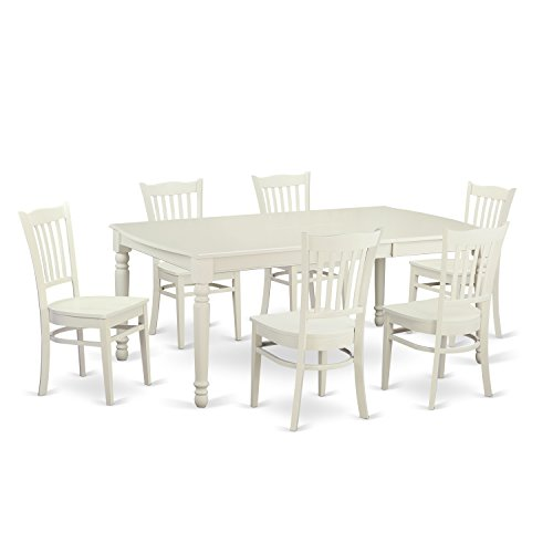 East West Furniture DOGR7-LWH-W 7 Piece Table and 6 Dinette Chairs