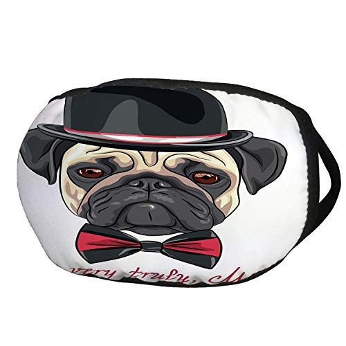 Fashion Cotton Antidust Face Mouth Mask,Pug,Sketch Style Hipster Dog Frowning Sad Face Pure Bred Top Hat and a Bow Tie Mr Pug,Black Red Cream,for women & -
