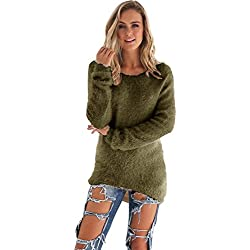 LisYOU Womens Pullover Winter Warm Long Sleeve Solid Jumper Sweaters Blouse(L,Army Green)