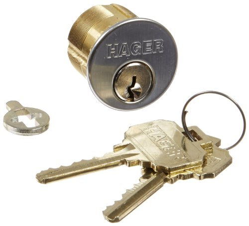 """Hager 3900 Series Mortise Cylinder Lock, Satin Chrome Finish, 1-1/8"""" Backset, Schlage C Conventional Keyway, Keyed Different Keying, 6 Pin"""