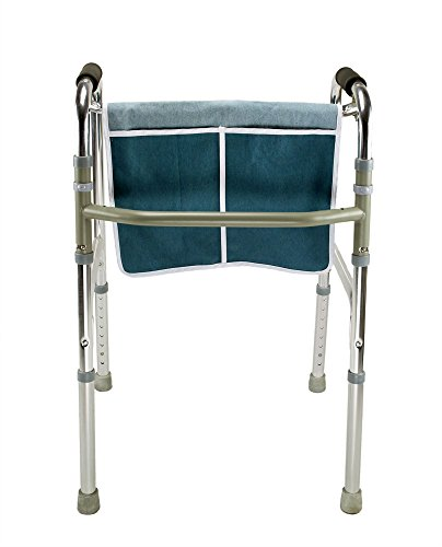 ObboMed® MY-5920N Washable Multi-Pocket Walker Rollator Bag, Travel Carry Pouch with Hook & Loop Closure and Ties, Cotton & Polyester, Turquoise, - Closure Denim