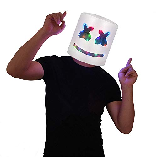 (DJ Marshmello Helmet Costume Music Festival Parties Halloween Scary Mask LED Light Up Masks)