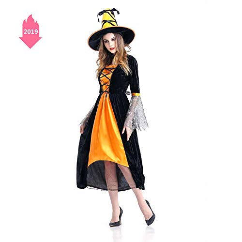 Halloween Horror Witch Cosplay Costume Witch Cosplay Stage Pack Nightclub Theme Party Costume,Yellow]()