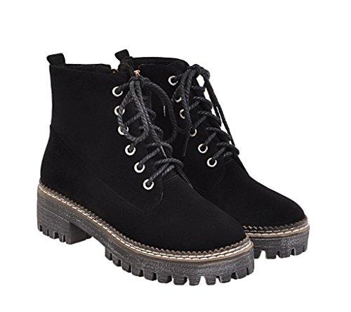 Couleur Ageemi Lacet Suede Femme Basso Shoes Tacco Unie Noir Rond Bottes qCFECRxw