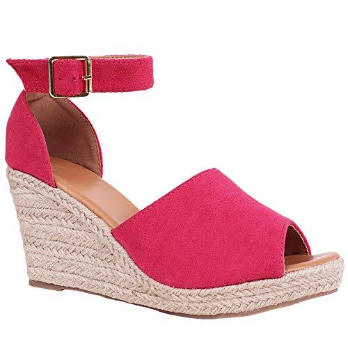 (Syktkmx Womens Espadrille Platform Wedge Heel Peep Toe Ankle Strap Slingback Suede Sandals (9 B(M) US,)