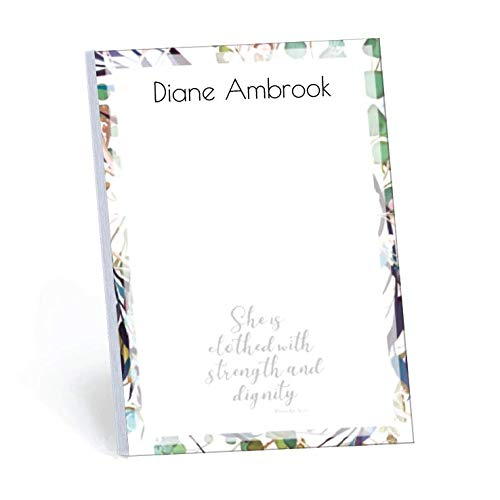 Clothed With Strength Set of 2 Personalized Memo Pads/Notepads, 2 pads - 50 sheets per pad. Available in 5.5