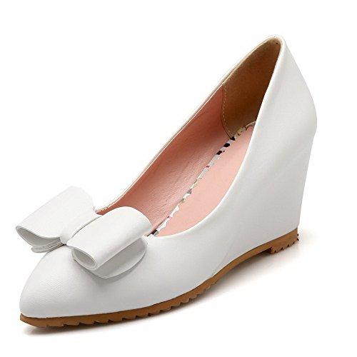 Morbido Pompe Indicata Pull Solido Punta on Di Chiuso Donne Bianche tacchi scarpe Materiale Allhqfashion 0wqpBxTFP