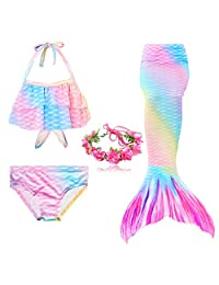 Mermaid Girl Swimsuit Three-Piece Bikini Tail for Swimming