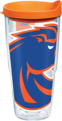 Tervis 1161770 Boise State Broncos Mascot Colossal Tumbler with Wrap and Orange Lid 24oz, Clear